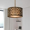 Golden Round Chandelier Pendant Traditional Metal 4-Light Ceiling Light Fixture with Fabric Shade