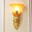Colonial Flared Flush Mount 1 Head Prismatic Glass Wall Sconce Lighting in Gold for Hallway