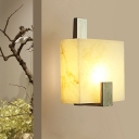 Single Head Square Wall Lamp Colonial Gold/Black Marble Flush Mount Wall Light for Hall
