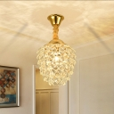 Pinecone Crystal Pendant Lighting Minimalist 1-Light Golden Hanging Pendant Light