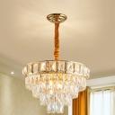 Crystal 5-Tier Chandelier Lamp Simple 6/9-Light Golden Hanging Light for Dining Room