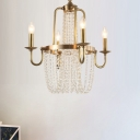Copper Scroll Frame Chandelier Traditional 4 Lights Golden Hanging Ceiling Light with Crystal Tassel