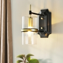 1 Bulb Iron Banded Wall Lamp Contemporary Black Circular Sconce Lighting with Clear Glass Shade