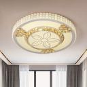 Petal Crystal Flush Ceiling Light Simple LED Living Room Flush Mount Lighting in White