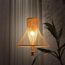 Asian Tapered Cone Hanging Light 1 Light Bamboo Ceiling Pendant Light in Wood for Teahouse
