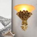 Gold Finish Rose Bouquet Wall Lamp Kit Single Light Resin Retro Flush Wall Sconce