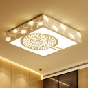 Square Ceiling Light Nordic K9 Crystal White LED Flush Mounted Light in Warm/White/3 Color Light