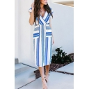 Trendy Ladies' Sleeveless Surplice Neck Striped Print Midi Shift Dress in Blue