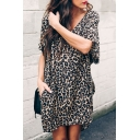Casual Street Women's Short Sleeve V-Neck Leopard Print Mini Oversize Dress in Black