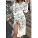 Pretty Elegant Ladies' Long Sleeve Surplice Neck Bow Tie Waist Plaid Print Slit Side Long Wrap Sheath Dress