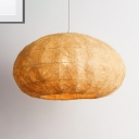 Asian Style Dome Hanging Lighting 1 Head Weave Rattan Pendant Lamp in Wood for Teahouse