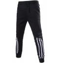 Classic Striped Panel Drawstring Waist Jogger Sweatpants Leisure Pants