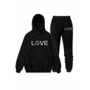 Popular Sad Face LOVE Printed Long Sleeve Thick Hoodie Two Piece Sports Set with Pants