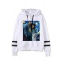 Womens Funny Spoof Oil Paint Pattern Long Sleeve Varsity Striped Drawstring Hoodie