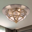 Brass 2/3 Lights Flush Mount Fixture Colonialism Clear Bevel Glass Prismatic Ceiling Mounted Light for Living Room, 14
