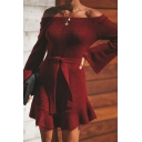 Dressy Girls' Bell Sleeve Off The Shoulder Bow Tied Waist Ruffled Trim Plain Knit Short Fitted A-Line Dress