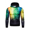 Mens Unique Splatter Paint 3D Pattern Long Sleeve Fitted Drawstring Hoodie