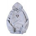 Womens Cute Heart Pattern TOMATO Printed Long Sleeve Baggy Pullover Hoodie