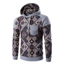 Tribal Style Color Block Panel Chest Pocket Long Sleeve Slim Fit Casual Hoodie for Men