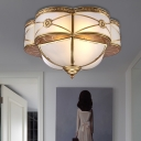 Curved Frosted Glass Brass Ceiling Flush Scallop 4 Heads Colonialist Flush Mount Lamp for Bedroom