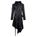 Ladies Cool Black Long Sleeve Ribbon Embellishment Irregular Hem Zip Up Longline Trench Coat