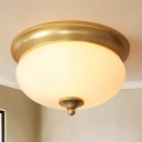 Oval Bedroom Flush Mount Light Colonial Blown Opal Glass 2 Bulb Brass Close to Ceiling Lamp