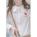Lovely Strawberry Embroidery Peter Pan Collar Lantern Long Sleeve White Blouse Shirt