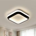 Square/Round Flush Mount Ceiling Light Simple Style Metal LED Black Flush Lamp in White/Warm/3 Color Light