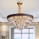 Tapered Hanging Lamp Kit Modern Curved Crystal 11 Heads Brown Chandelier Lighting