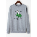 Funny Unicorn Dinosaur TO THE DISCO Printed Long Sleeve Fashion Pullover Sweatshirt