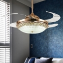 Dome Metal Ceiling Fan Lamp Modernist LED Gold Semi Flush Light with Crystal Decor for Bedroom