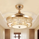 Metal Floral Ceiling Fan Light Modern LED Gold Semi-Flush Mount Light for Living Room