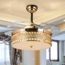 Gold/Rose Gold Drum Ceiling Fan Modernism LED Sandblasted Glass Semi Mount Lighting in White/Color-Changing Light, Wall/Remote Control/Frequency Conversion