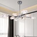 Crystal Block Triangle Chandelier Light Fixture Modernism 8 Heads Chrome Hanging Light in Warm/White Light