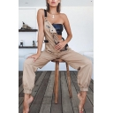 Khaki Fashion Casual Sleeveless Buckle Strap Zip Detail Ankle Relaxed Tapered Suspender Trousers for Girls
