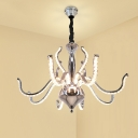 Crystal Curved Hanging Chandelier Modern LED Chrome Down Pendant Lighting for Living Room in White/Warm Light