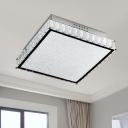 Simple Square Flush Ceiling Light Crystal LED Living Room Flush Mount Lighting Fixture in White