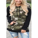 Green Camouflage Printed Colorblock Long Sleeve Fitted Drawstring Hoodie with Pocket