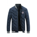 Mens Warm Applique Printed Chest Stand Collar Long Sleeve Zip Closure Navy Baseball Jacket