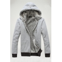 Mens Winter Popular Light Gray Plain Long Sleeve Zip Up Thick Casual Jacket Drawstring Hoodie