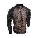 Mens Casual Brown Branch Printed Stand Collar PU Panel Long Sleeve Zip Up Baseball Jacket