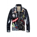 Hip Hop Stylish Girl Letter Skull Paint Flag Applique Sequins Printed Single Breasted Denim Jacket for Men