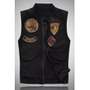 Mens Cool Letter Badge Patch Sleeveless Lapel Collar Zip Closure Black Loose Casual Vest