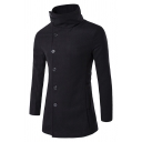 Mens Plain Long Sleeve Lapel Collar Side Button Split Back Longline Woolen Coat