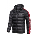 Mens Simple SUPERMAN Letter Printed Stripe Long Sleeve Zipper Down Jacket Hooded Puffer Coat
