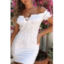 Plain White Stringy Selvedge Embellished Off Shoulder Tied Front Short Sleeve Fitted Mini Dress
