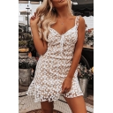 White Chic Floral Printed Sweetheart Tied Front Ruffle Embellished Sheer Lace Mesh Mini Strap Dress