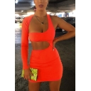 Female Designer Cutout Detail Single Sleeve Backless Sexy Plain Orange Mini Party Dress