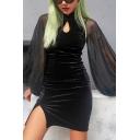 Black Mesh Patch Lantern Long Sleeve One Button Stand Collar Hollow-Out Split Vintage Mini Cheongsam Dress