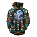 3D Apache Warrior Collection Tribal Wolves Printed Long Sleeve Drawstring Hoodie